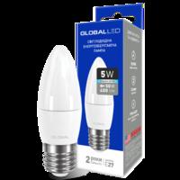 светодиодная LED ЛАМПочка брэнд GLOBAL C37 CL-F 5W ЯРКИЙ СВЕТ 220V E27 AP от Максус(1-GBL-132) (NEW)