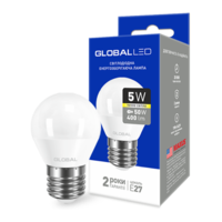 светодиодная LED ЛАМПА брэнд GLOBAL G45 F 5W яркий СВЕТ 220V E27 AP (1-GBL-142) (от MAXUS NEW)