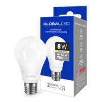 светодиодная LED лампа GLOBAL A60 8W мягкий свет 220V E27 AL (1-GBL-161)(от MAXUS NEW)