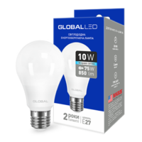 светодиодная LED лампа GLOBAL A60 10W МЯГКИЙ свет 220V E27 AL (1-GBL-163)(от MAXUS NEW)
